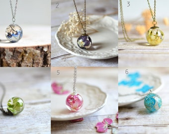 Bulk listing - resin jewelry, pressed flower, nature necklace statement, necklace nature inspired, discount, wholesale, bridesmaids gift