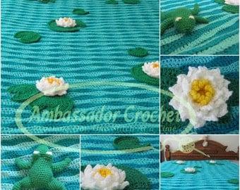 Frog Pond Crochet Afghan Pattern PDF 117
