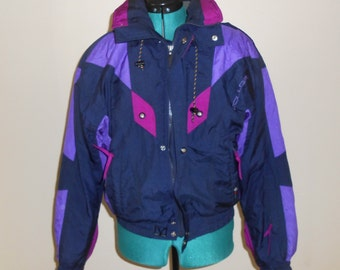 Vintage 1990s COULOIR navy blue & purple hooded winter-warm ski jacket, size Medium