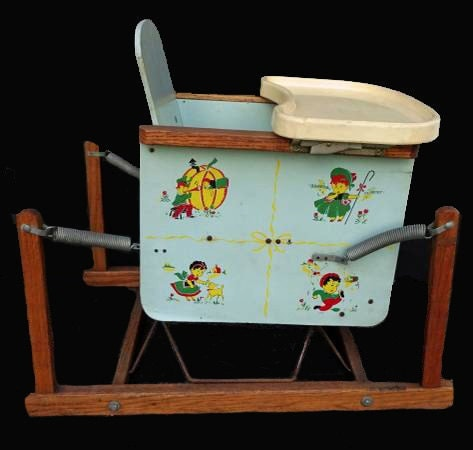 Antique Baby Chair Bouncer Wooden Spring Highchair By