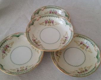 Mother's day vintage fruit bowls pale yellow and green Japan china