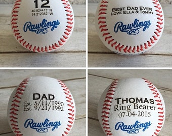 Personalized Gift: Engraved Baseball Wedding Favor Fathers Day Groomsmen Son Grandfather Dad christmas housewarming ring bearer birthday