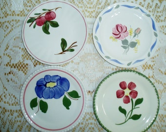 Four Assorted Blue Ridge Pottery Dessert / Bread Plates