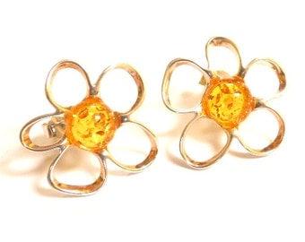 Baltic Amber Flower Earrings Yellow Cognac Honey Posts 925 silver