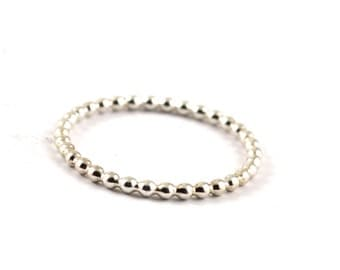 Dotted silver ring -  beaded ring -  super skinny ring -  skinny stackable ring