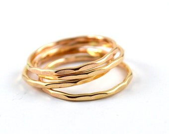 Gold filled stacking ring -  gold stacking rings - textured gold filled stacking ring - skinny gold ring - gift for her - hammered ring gold