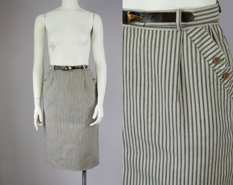 "40s 50s Vintage Pinstripe Tan High-Waist Midi Skirt with Button Pockets and Belt (25 3/4"" Waist)"