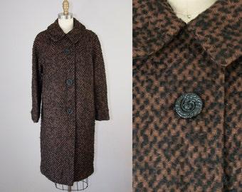 1960s Vintage Brown and Black Wool Boucle Coat. 60s Winter Midi Jacket (S,M)