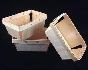 12 Pint Rectangle Wood Berry Baskets