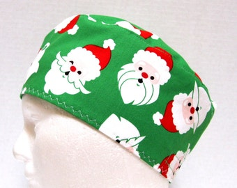 Mens Christmas Scrub Hat or Chemo Cap Santas on Green