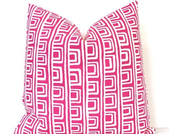 Pink Squares Decorative Designer Pillow Cover Accent Throw Cushion modern geometric shapes tribal white papaya hot pink bright neon fuchsia