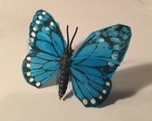 Large Blue Butterfly Ring Adjustable Ring