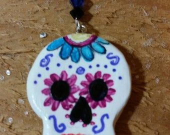 Day of the Dead ceramic necklace