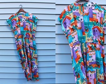 Vintage Vtg Vg 1980's 80's TROPICAL Lined Houses Print Dress Lightweight Cotton with Elastic Waist Brightly Colored Women's Large Hipster