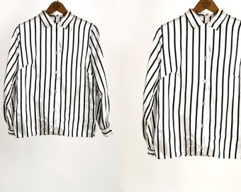 Vintage 1960's Silky Black and White Striped Long Sleeve Blouse Union Made Women's Size 32 Women's Small Medium Vtg Vg Disco