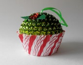 SALE Candy Cane Stripes and Green Fake Sequins Cupcake Holiday Ornament
