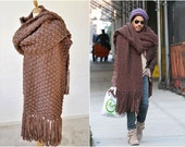 Brown Oversized Scarf, Extra Wide Scarf, Chunky Knit Scarf, Super Sized Scarf, Blanket Scarf, Men's Street Fashion