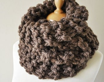 Super Chunky Cowl, Brown Knit Cowl, Chunky Knitted Cowl, Outlander Inspired Cowl, Claire's Cowl, Chunly Wool Cowl