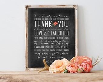 Thank You sign - Digital Wedding Sign - Printable wedding sign, Chalkboard wedding sign, 8 x 10