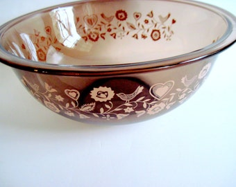 Festive Harvest Bowl Vintage Amber Pyrex Peach/Pink Hearts Birds Flowers Vines Brown Smoke Mixing Bowl French Country Art Deco Vintage Retro
