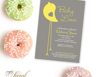 Little Bird Baby Shower Invitation Yellow and Grey