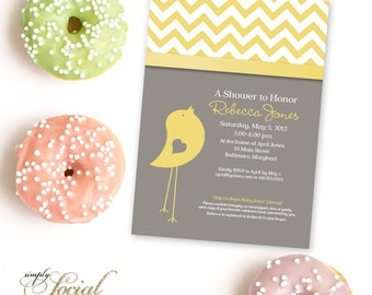 Bird Baby Shower Invitation - Grey and Yellow Chevron Gender Neutral Printable Invitation DIY Invite Baby Shower Little Birdie