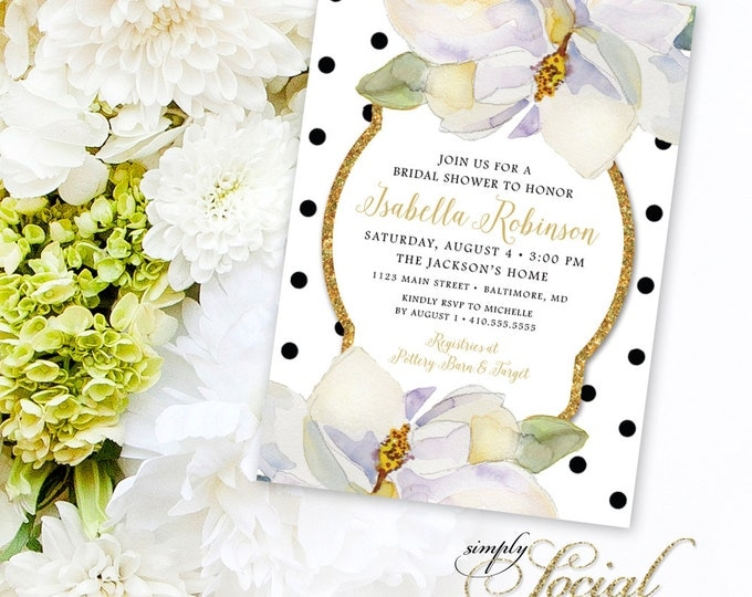 Magnolia Bridal Shower Invitation - White Flowers and Black Polka Dots Classy Southern Invitation Printable