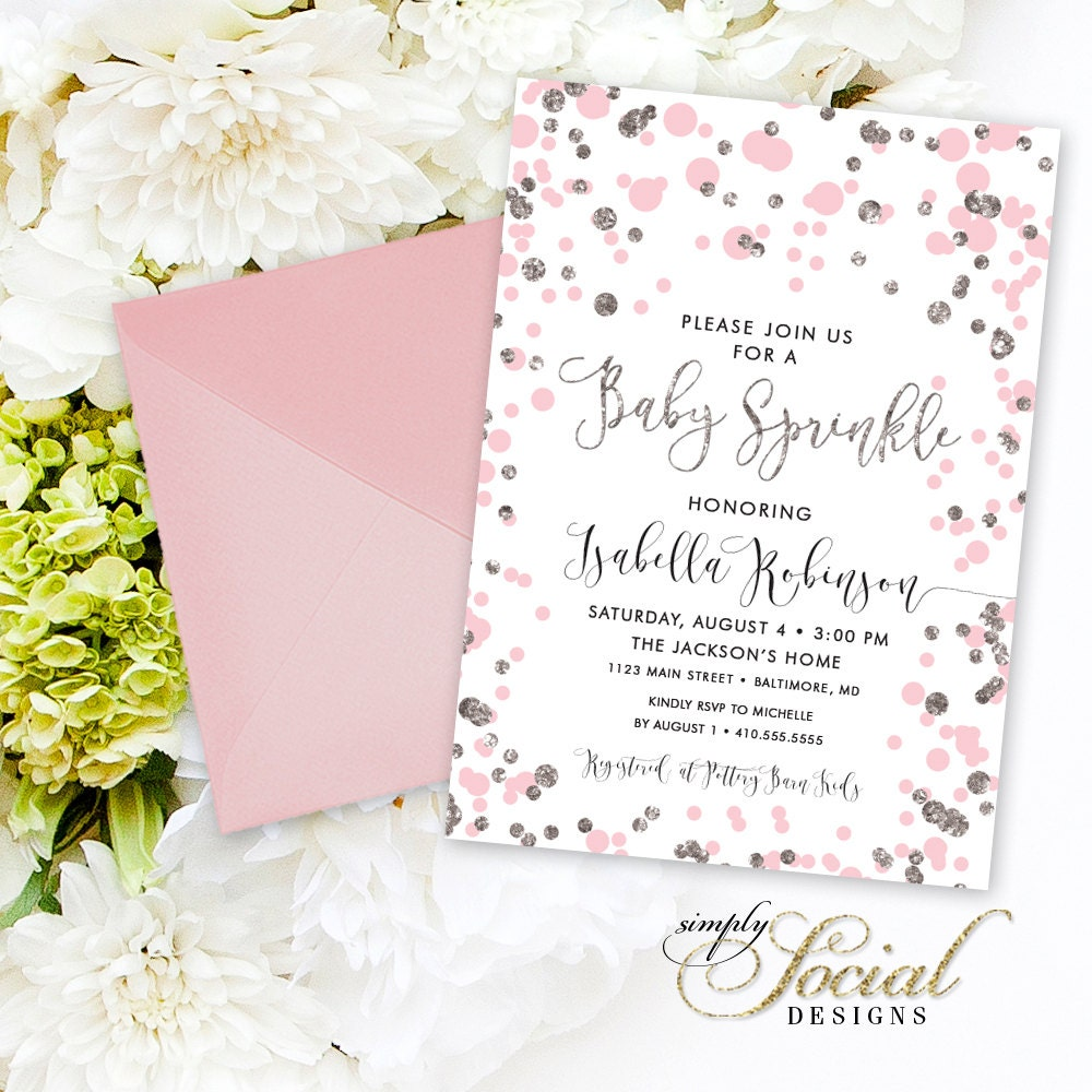 Pink Confetti Baby Shower Sprinkle Invitation   Blush And Silver Glitter  Itu0027s A Girl Calligraphy Baby Shower Baby Sprinkle PRINTABLE