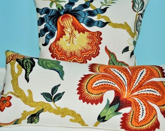 Celerie Kemble for Schumacher- Hot House Flowers -Designer Decorative Lumbar Pillow Cover- Throw Pillow- 22x12  ready to ship