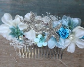Beach Bridal Comb, Destination Wedding, Hair Flower, Tiara, blue, Starfish, Bridal Headpiece, Aqua, Sea, Wedding comb, flower comb, DeLoop