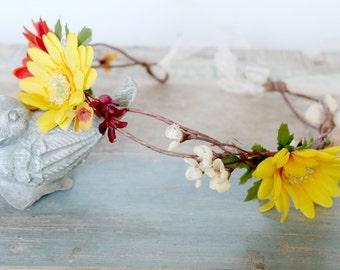 Sunflower Wedding Flower Crown, Autumn Wedding, Fall,  Bridal Headpiece, headpiece, Flower Head Wreath, Rustic Wedding, Floral Crown