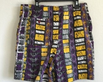30% OFF Vintage 1990s Mens Swim Trunks Purple Gold Yellow Lakers Short Shorts Swimsuit S/M -l