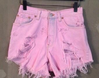 30% OFF SALE Vintage 1990s High Waist Pink Denim Studded Cut Offs Levis Runawaydreamz S 7M (d)