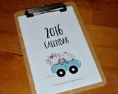 2016 Calendar : (5.25 x 8 inches) Desk calendar Wall calendar Stick figure children Teacher gift