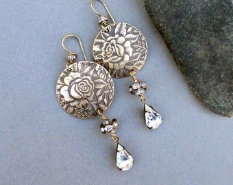 On Sale - Bronze Earrings Vintage Style Flower Earrings with Clear Crystal Drop Earrings Victorian Rose Floral Pattern Long Dangles Bronze