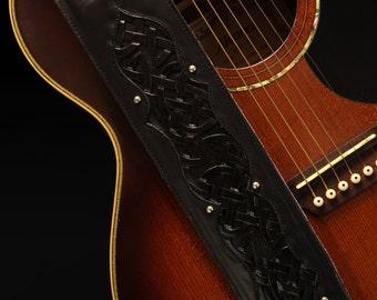 Custom Guitar Strap:  Celtic Black Beauty Guitar Strap