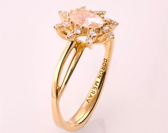 Oval Morganite Engagement Ring, Morganite engagement ring, Morganite ring, Morganite halo ring, peach morganite ring, unique engagement ring