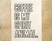Coffee Spirit Animal Linocut Print Wall Art Poster