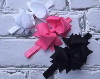 Boutique Baby Girls Set of 3 White Black Pink Large Hair Bow Baby Headbands Basic Bow Headbands Set of 3 Headbands