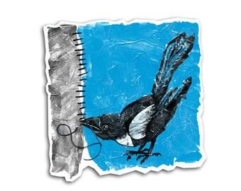 Crafty Magpie Sticker - Bird Art Scrapbooking Embellishments Craft Sewing