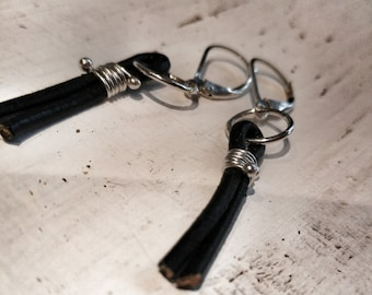 Sterling Silver and Leather Earrings