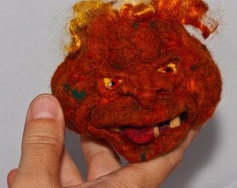 Needle felted Pumpkin Pet for BJD or decor