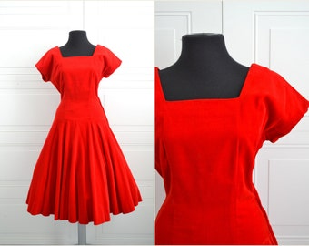 1950s Red Velvet Dress with a Circle Skirt