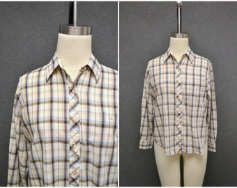 1970s Plaid Button Front Shirt