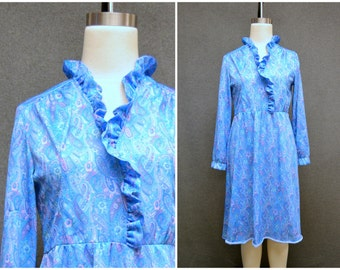 1970s Blue Paisley Dress