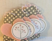 Valentine gift tags, Handmade Valentine, pink and grey Valentine tags, tags
