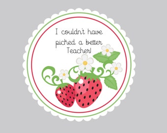 Set of 8 Strawberry Tags  Personalized Tags  Thank you Tags  Berry Sweet Tags Wedding Favor Tags  Birthday Tags