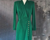 Green and Gold 40s Style Dress; Size Medium