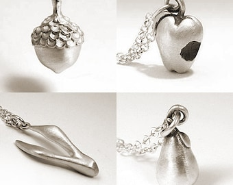 Hand Carved Sterling Silver Charms, Acorn, Apple, Pear Necklaces