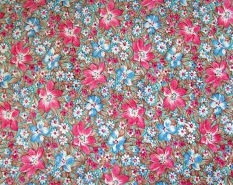 vintage floral cotton fabric 44inx2yards feedsack style quilting print pink blue & white flowers on turquoise background